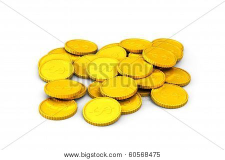 Heap of golden dollar coins on a white background poster