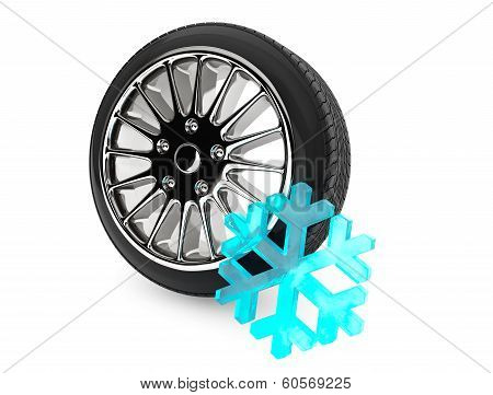 Winter Car Wheel Tire With Snowflake