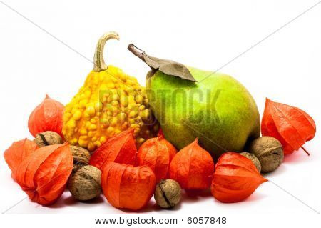 Ensemble of autumn pumpkin pear and nuts before a white background poster