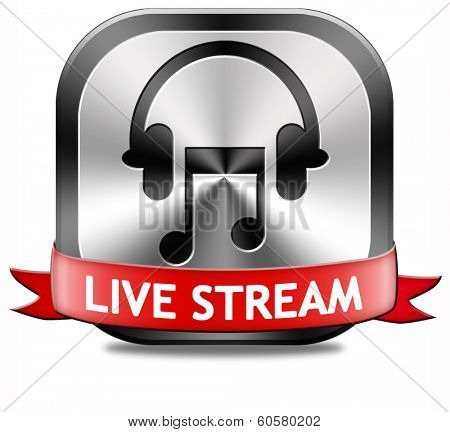live stream music song audio or listen to radio streaming button or icon poster
