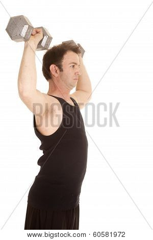 A man in a black tank top lifting big weights from the side. poster