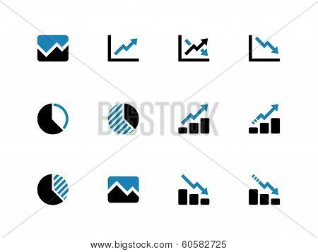 Line chart and Diagram duotone icons.