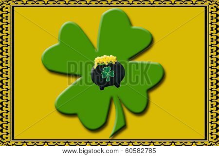 shamrock with pot of gold