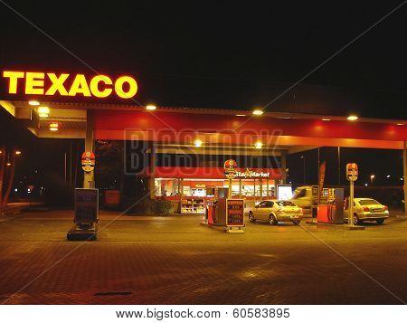 Gas Station In The Night City Gorinchem. Netherlands
