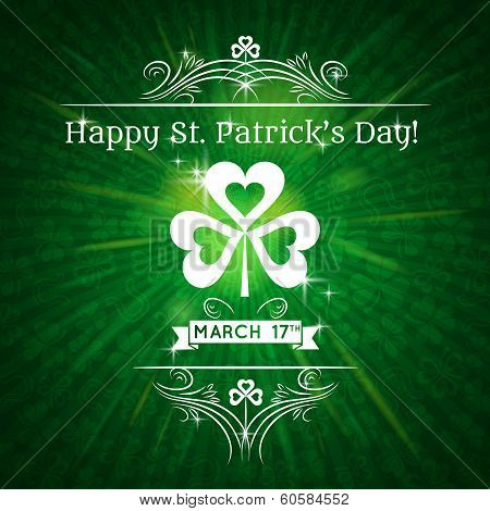 Card For St. Patrick's Day With Text And Shamrock, Vector