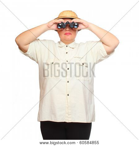 Traveler exploring looking through binoculars . Studio shot isolated on white background