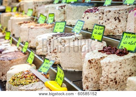 Confections stand at Mahane Yehuda, famous market in Jerusalem
