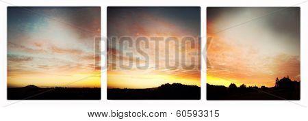 Sun sets over landscape, Waikato, New Zealand