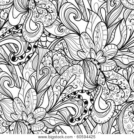 monochrome texture with abstract hand-drawn elements. Endless floral pattern. Can be used for wallpaper pattern backdrop surface textures. monochrome color seamless floral background poster