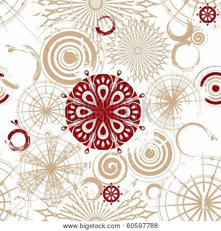 Vector seamless grunge background with decorative openwork beige and vinous circles poster