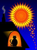 Cat watching fireworks. Please remember animals are afraid of fireworks poster