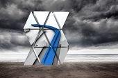 Blue arrow on abstract screen against stormy weather by the sea poster