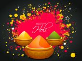 Indian festival Happy Holi celebrations concept with shiny colour powders on splash background. poster