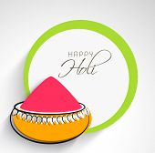 Indian festival Happy Holi celebrations concept with pink colour powder on grey background. poster