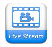 live stream video film or movie on or TV button or icon poster