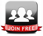 join free no registration fee, join today and become a member. Application icon, button or sign. poster