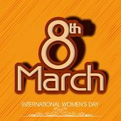 International Happy Women's Day celebration concept with stylish text on yellow background. poster