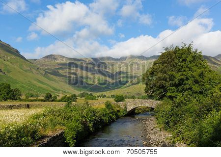 Beautiful Lake District river Mickleden Beck Langdale Valley by Old Dungeon Ghyll Cumbria uk