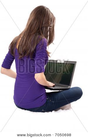 Brunette Using Laptop