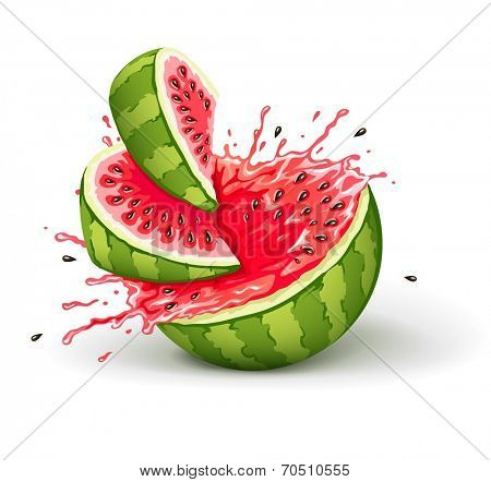 Juicy ripe watermelon cuts with splashes of juice drops. Eps10 vector illustration. Isolated on white background