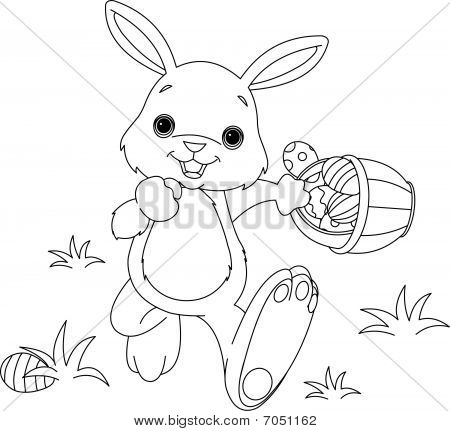 Coloring page of Easter Bunny Hiding Eggs poster