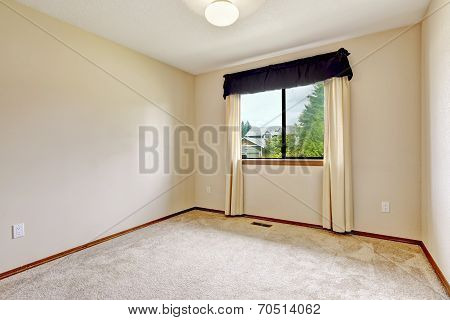 Brigh White Empty Room With Curtains