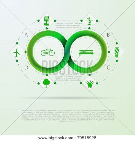 Vector infographic for ecology with Mobius stripe