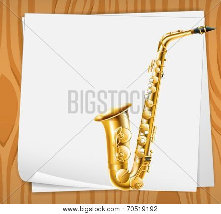 Illustration of an empty paper with a trombone