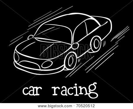Illustration of a car racing on a black background