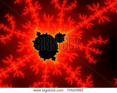 Red fractal background with lighting
