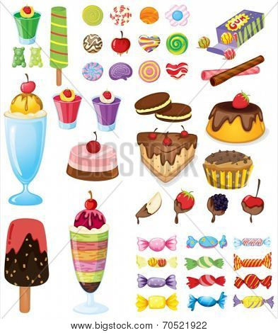 Illustration of the different sweets on a white background