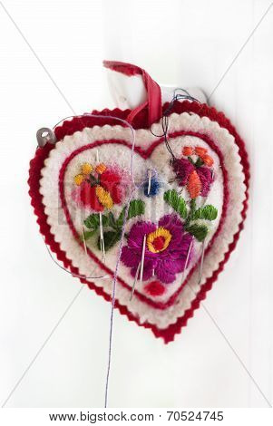 Embroidered Pincushion In Form Heart With Needles