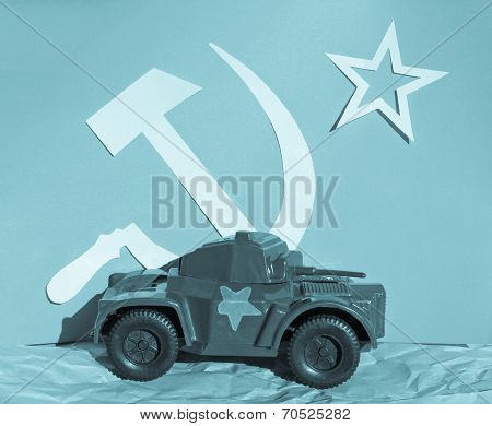 Scale model of Russian tank in front of CCCP flag - cool cyanotype poster
