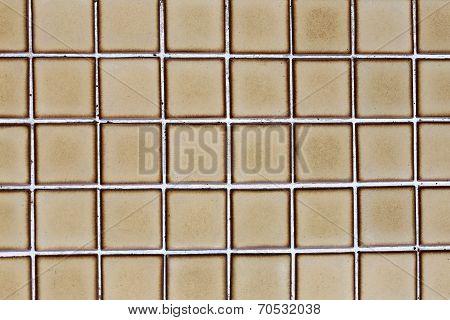 Borwn Tile Wall Of Square.