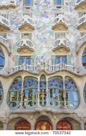 Detail of modernist Casa Batllo facade, designed by Antoni Gaudi, in Barcelona, Spain