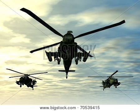 Computer generated 3D illustration with Apache Helicopters poster