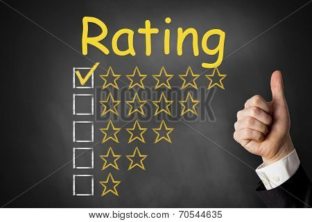 thumbs up rating golden stars chalkboard checked poster