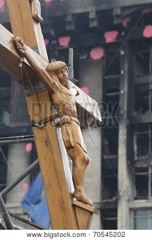 KIEV, UKRAINE - APR 19, 2014:Crucifixion of Ukraine.Burned downtown of Kiev.Rioters camp. Putsch of junta in Kiev and Western Ukraine.April 19, 2014 Kiev, Ukraine