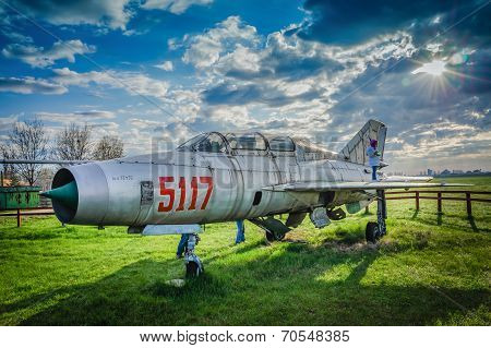 Clinceni, Romania, April 14, 2013 - Mig Fighter Plane Exposed For Visitors At The Clinceni Airport