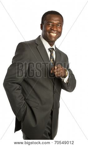 Happy Looking Mid Age African American Male Model on Isolated Background