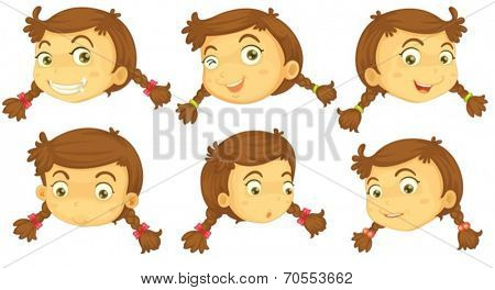 Illustration of the variations of a girl's faces on a white background
