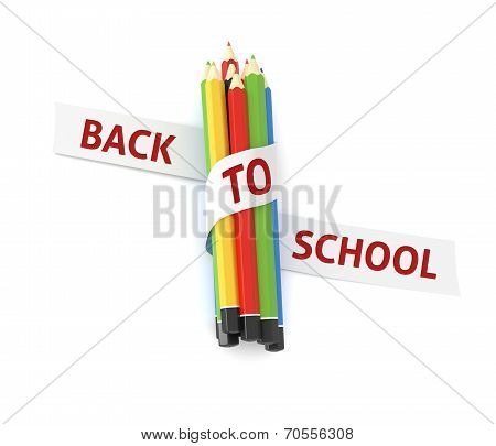 Welcome Back To School Embroidered On Ribbon On Colorful Crayons