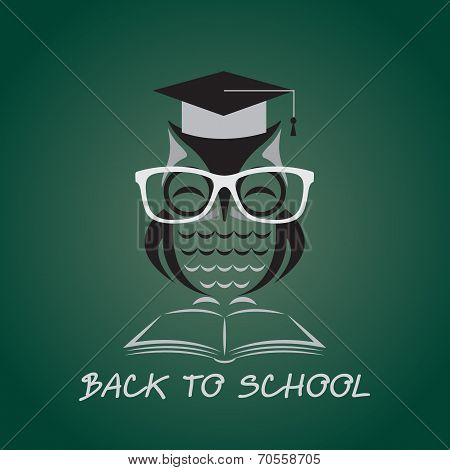 Vector image of an owl glasses with college hat