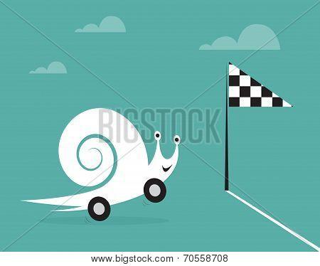 Snail on wheels like a car