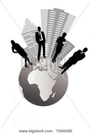 Illustration of business people and globe