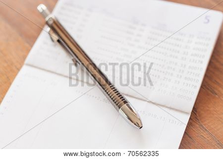 Bank Account Passbook With Pen