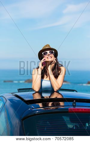 Happy Woman On Summer Car Vacation Travel Talking On Cellphone
