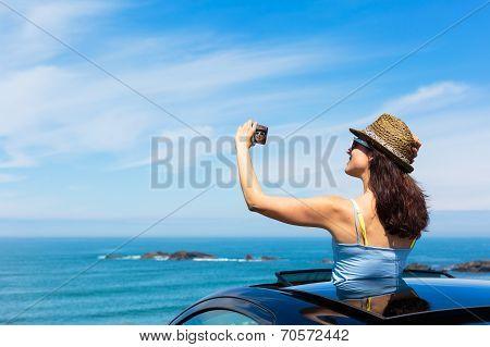 Woman Taking Selfie Photo On Car Summer Travel