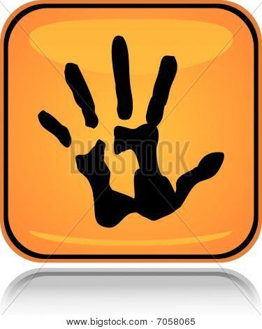 Yellow square icon hand print with reflection