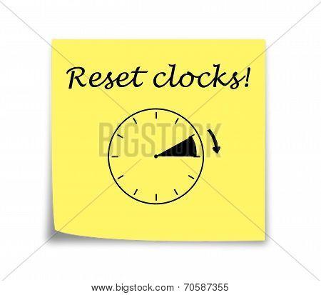 Sticky Note Reminder To Set Clocks Forward